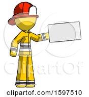 Yellow Firefighter Fireman Man Holding Large Envelope