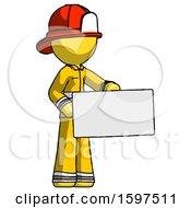 Yellow Firefighter Fireman Man Presenting Large Envelope