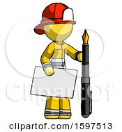 Yellow Firefighter Fireman Man Holding Large Envelope And Calligraphy Pen