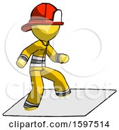 Yellow Firefighter Fireman Man On Postage Envelope Surfing