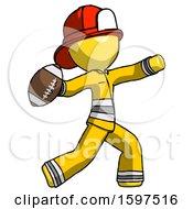 Yellow Firefighter Fireman Man Throwing Football