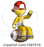 Yellow Firefighter Fireman Man Sitting On Giant Football