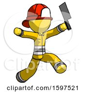 Yellow Firefighter Fireman Man Psycho Running With Meat Cleaver