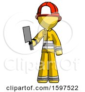 Yellow Firefighter Fireman Man Holding Meat Cleaver