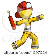 Yellow Firefighter Fireman Man Throwing Dynamite