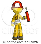 Yellow Firefighter Fireman Man Holding Dynamite With Fuse Lit