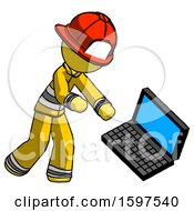 Yellow Firefighter Fireman Man Throwing Laptop Computer In Frustration