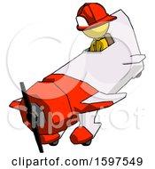Yellow Firefighter Fireman Man In Geebee Stunt Plane Descending View