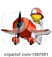 Yellow Firefighter Fireman Man Flying In Geebee Stunt Plane Viewed From Below