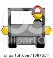 Yellow Firefighter Fireman Man Driving Amphibious Tracked Vehicle Front View