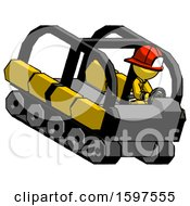 Yellow Firefighter Fireman Man Driving Amphibious Tracked Vehicle Top Angle View