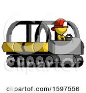 Yellow Firefighter Fireman Man Driving Amphibious Tracked Vehicle Side Angle View