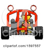 Yellow Firefighter Fireman Man Riding Sports Buggy Front View