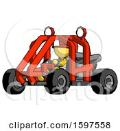 Yellow Firefighter Fireman Man Riding Sports Buggy Side Angle View