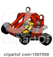 Yellow Firefighter Fireman Man Riding Sports Buggy Side Top Angle View