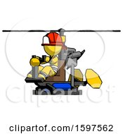Yellow Firefighter Fireman Man Flying In Gyrocopter Front Side Angle View