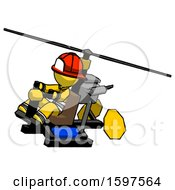 Yellow Firefighter Fireman Man Flying In Gyrocopter Front Side Angle Top View
