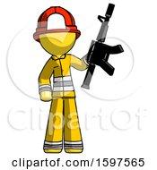 Yellow Firefighter Fireman Man Holding Automatic Gun