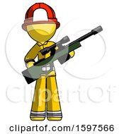 Yellow Firefighter Fireman Man Holding Sniper Rifle Gun