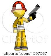 Yellow Firefighter Fireman Man Holding Handgun