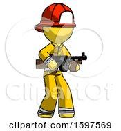 Yellow Firefighter Fireman Man Tommy Gun Gangster Shooting Pose