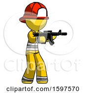 Yellow Firefighter Fireman Man Shooting Automatic Assault Weapon