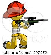Yellow Firefighter Fireman Man Kneeling Shooting Sniper Rifle