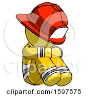 Yellow Firefighter Fireman Man Sitting With Head Down Facing Angle Right