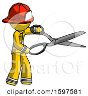 Yellow Firefighter Fireman Man Holding Giant Scissors Cutting Out Something