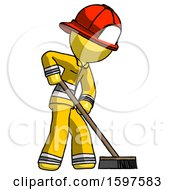 Yellow Firefighter Fireman Man Cleaning Services Janitor Sweeping Side View