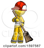 Yellow Firefighter Fireman Man Sweeping Area With Broom