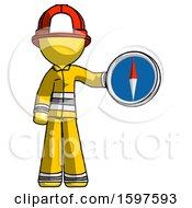 Yellow Firefighter Fireman Man Holding A Large Compass