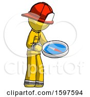 Yellow Firefighter Fireman Man Looking At Large Compass Facing Right