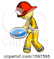 Yellow Firefighter Fireman Man Walking With Large Compass