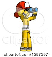 Yellow Firefighter Fireman Man Looking Through Binoculars To The Right