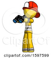 Yellow Firefighter Fireman Man Holding Binoculars Ready To Look Left