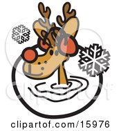 Cute Reindeer Wearing Earmuffs In The Snow Clipart Illustration