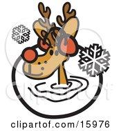 Cute Reindeer Wearing Earmuffs In The Snow