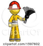 Yellow Firefighter Fireman Man Holding Feather Duster Facing Forward
