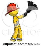 Yellow Firefighter Fireman Man Dusting With Feather Duster Upwards