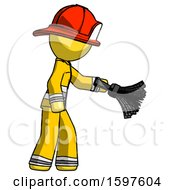 Yellow Firefighter Fireman Man Dusting With Feather Duster Downwards
