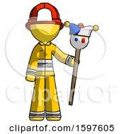 Yellow Firefighter Fireman Man Holding Jester Staff
