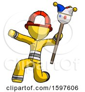 Yellow Firefighter Fireman Man Holding Jester Staff Posing Charismatically