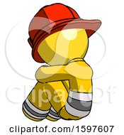 Yellow Firefighter Fireman Man Sitting With Head Down Back View Facing Left