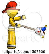 Yellow Firefighter Fireman Man Holding Jesterstaff I Dub Thee Foolish Concept