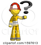 Yellow Firefighter Fireman Man Holding Question Mark To Right