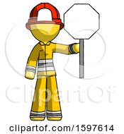 Yellow Firefighter Fireman Man Holding Stop Sign