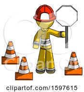 Yellow Firefighter Fireman Man Holding Stop Sign By Traffic Cones Under Construction Concept