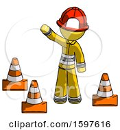 Yellow Firefighter Fireman Man Standing By Traffic Cones Waving
