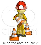 Yellow Firefighter Fireman Man Holding A Traffic Cone